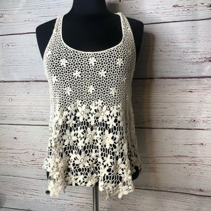 Fang Small Crocheted Racer Tank Cream